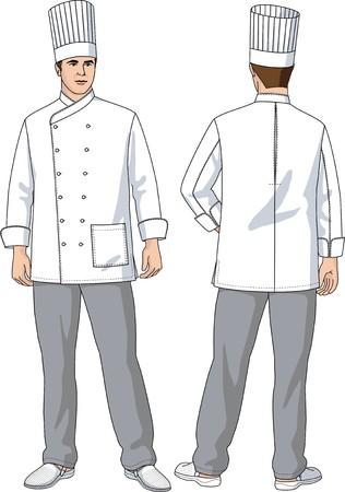 uniforme de chef: El traje de la cocinera consiste en una chaqueta, pantal�n y una gorra Vectores