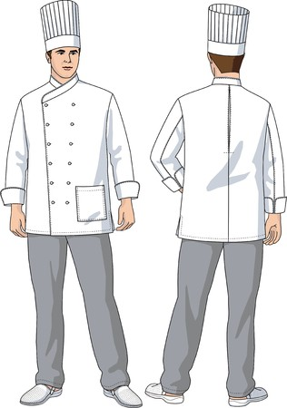 The suit of the cook consists of a jacket, trousers and a cap Illustration