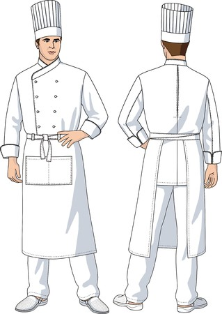 white uniform: The man the cook in an apron with pockets Illustration