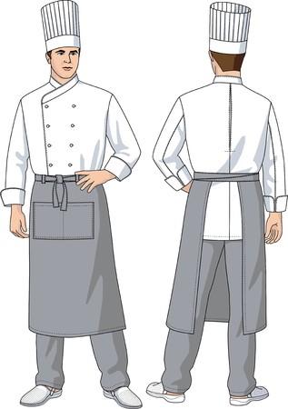 cook hats: El hombre, el cocinero en un delantal con bolsillos Vectores