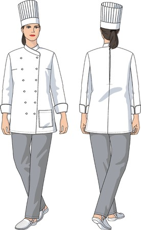 The woman in a suit of the cook with pockets Vector