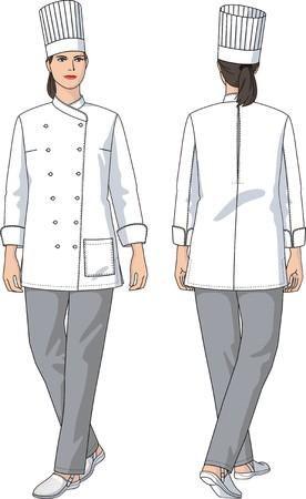 La mujer en un traje de la cocinera con bolsillos