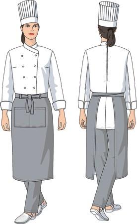 De vrouw de kok in een schort met zakken  Vector Illustratie