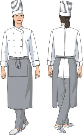 kitchen apron: The woman the cook in an apron with pockets Illustration