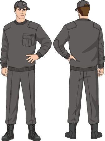 The suit of the security guard consists of a jumper, trousers, a cap and boots Stock Vector - 6702805