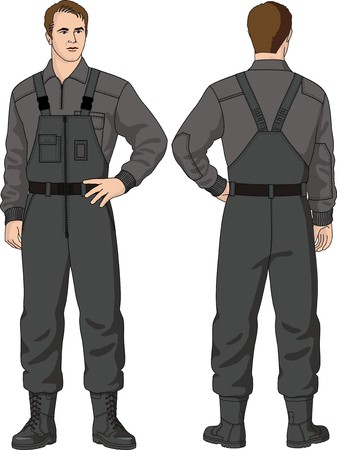 trousers: The man in trousers with shoulder straps and a jumper Illustration