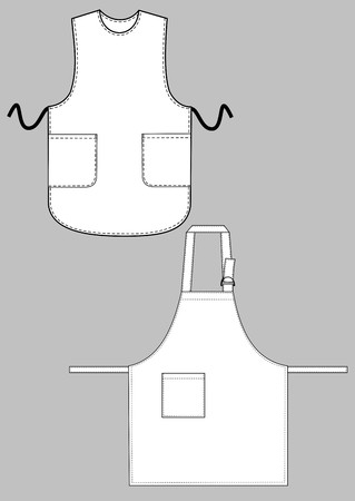 Two kinds of aprons with pockets
