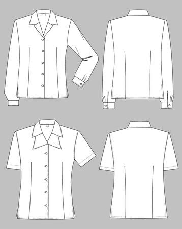 �rmel: Drei Arten von weiblichen Blusen mit verschiedenen Halsb�nder Illustration