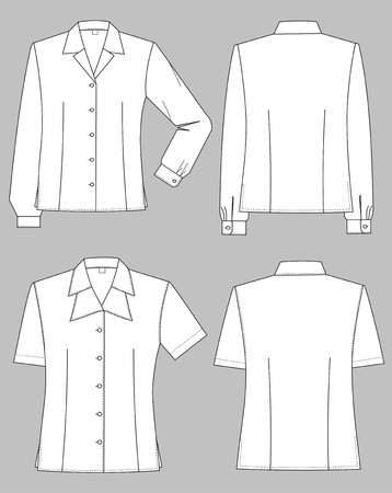 sleeve: Three kinds of female blouses with various collars Illustration