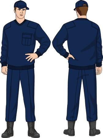 El traje de la Guardia de seguridad consiste en un puente, pantalones, un gorro y botas  Ilustración de vector