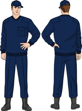 The suit of the security guard consists of a jumper, trousers, a cap and boots Vector