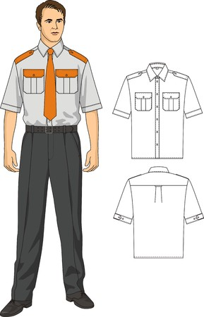 cuffs: The man in a shirt with pockets and trousers Illustration