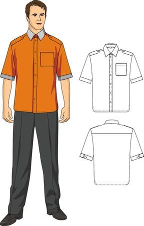 business shirts: El hombre en una camisa con bolsillos y pantalones