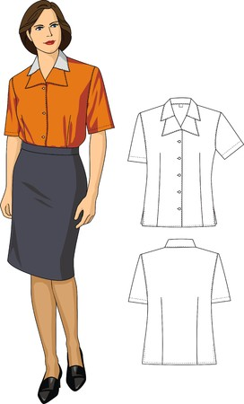 grownup: Two variants of female blouses and skirts