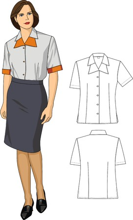 Two variants of female blouses and skirts Stock Vector - 6728205