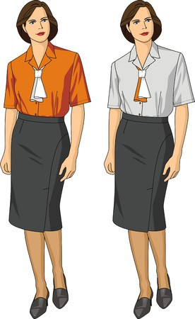 blouse: Two variants of female blouses and skirts