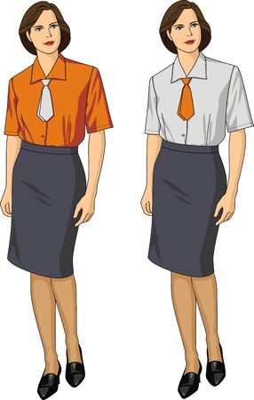 variants: Two variants of female blouses and skirts