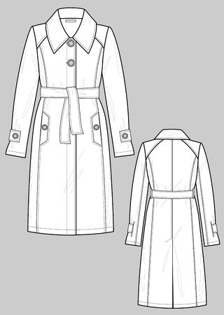 Raincoat female with pockets Vector