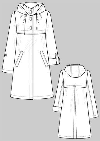 raincoat: Raincoat female with pockets Illustration