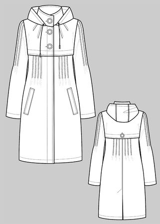 Raincoat female with a collar and pockets Stock Vector - 6771764