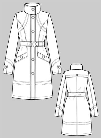 Raincoat female with a collar and pockets Vector