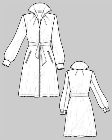 rain coat: Raincoat female with a collar and pockets Illustration