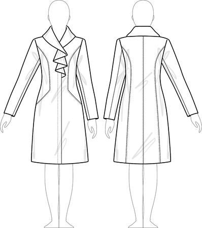 fur hood: Coat female with a collar, sleeves and pockets Illustration