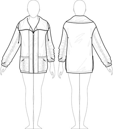 raincoat: Raincoat female with a collar and pockets Illustration