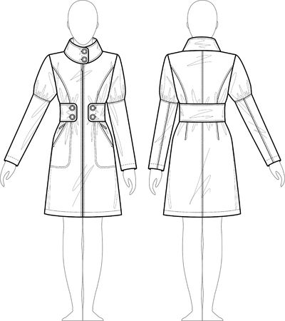 artificial model: Raincoat female with a collar and pockets Illustration