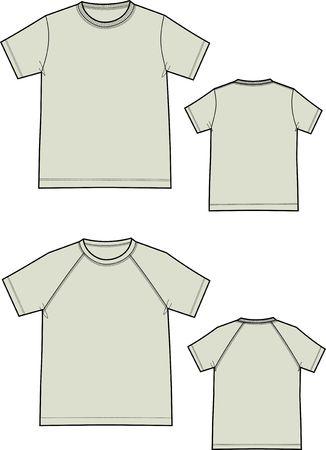 半袖 t シャツ 2 種類  イラスト・ベクター素材