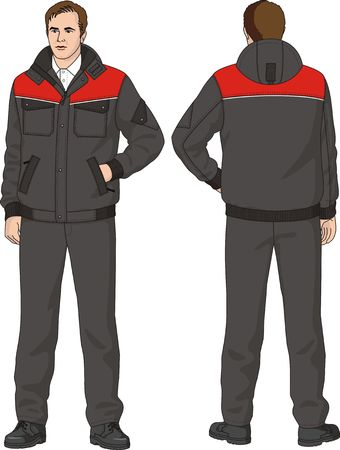 grey hair: The suit mans consists of a jacket and trousers