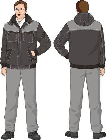 ジャケットとズボン成っているスーツの男  イラスト・ベクター素材