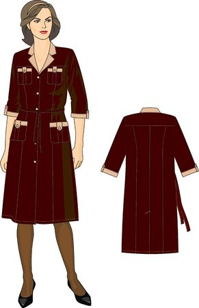 The woman in a dressing gown with short sleeves and pockets Vector