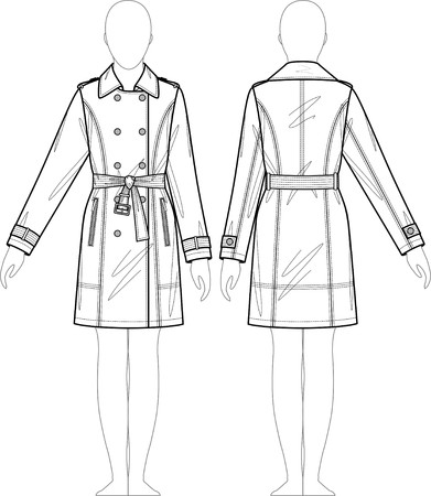Raincoat Female With A Collar And Pockets Royalty Free Cliparts