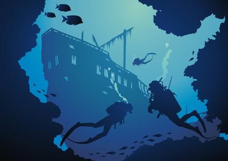 aqualung: Subacquei tra reeves float in nave irrecuperabili  Vettoriali