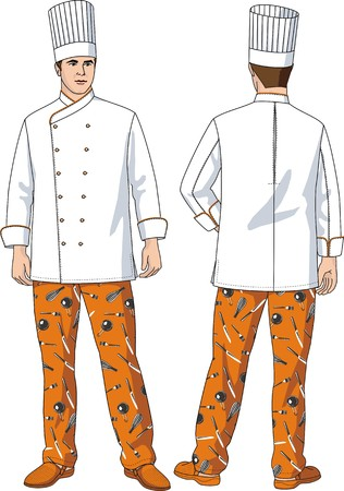 vegetable cook: The suit of the cook consists of a jacket, trousers and a cap Illustration