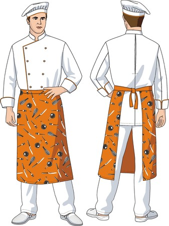 plug hat: The man the cook in an apron with pockets Illustration