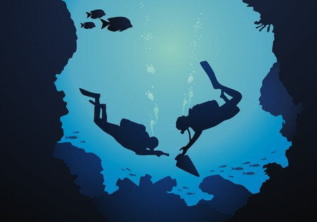 aqualung: The diver is surrounded with a jamb of fishes Illustration