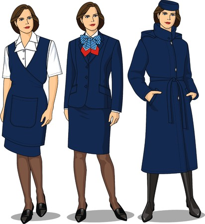 skirt suit: The suit female consists of a jacket, a skirt, a blouse, an apron, a coat and a bow Illustration