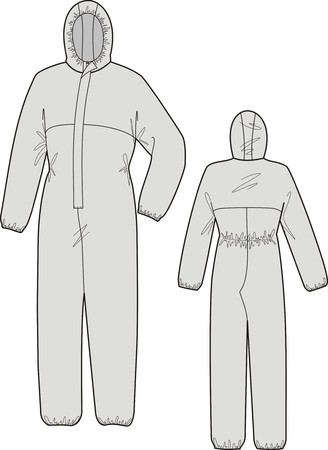 Overalls protective with a hood and long sleeves