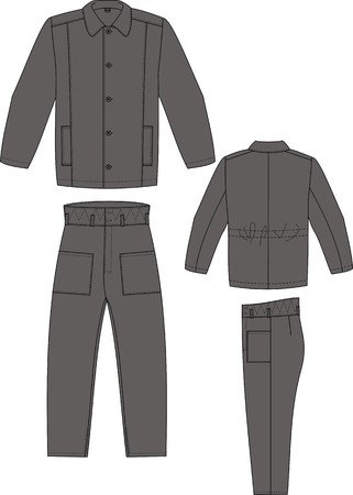Padded jacket and trousers winter with pockets Stock Vector - 7626127