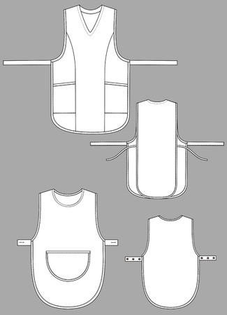 Two variants of aprons with outsets and pockets Vector