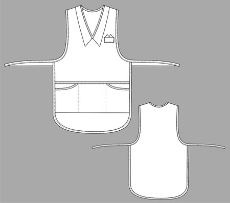 Apron female with a collar, outsets and pockets Vector