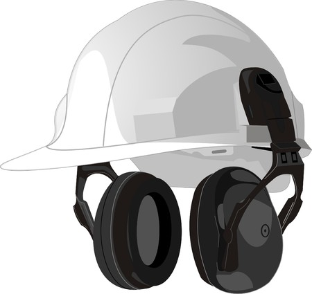 construction equipment: Helmet white protective with the built in ear-phones Illustration