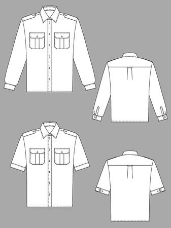 sleeve: Two variants of shirts for the man with a long and short sleeve Illustration