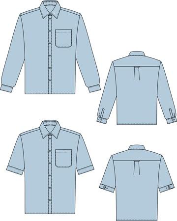 business shirts: Dos variantes de camisetas para el hombre con una funda larga y corta  Vectores