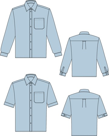 Two variants of shirts for the man with a long and short sleeve Illustration