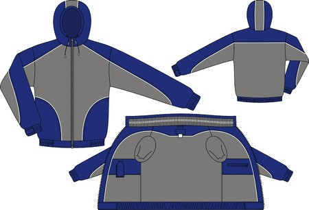 blue grey coat: Jacket sports with a hood and long sleeves