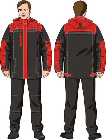 ジャケットとズボンで成る冬のスーツを着た男