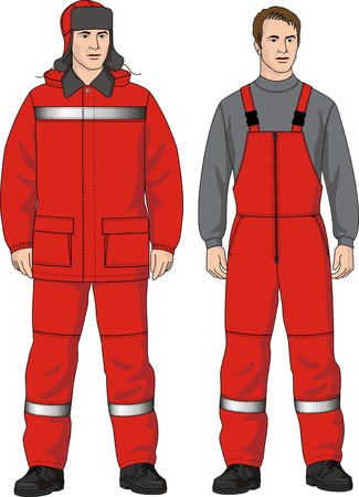 The man in a jacket and a overalls with pockets Vector